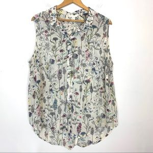 H&M Blouse Size 20 Semisheer Floral Sleeveless T66